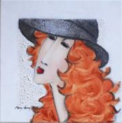 MM104: Faces series: Red curls and black hat