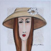 MM107: Faces series: Straw hat with daisy