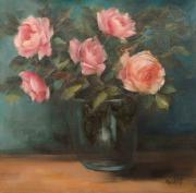 Nicky Botha: Five roses in glass vase